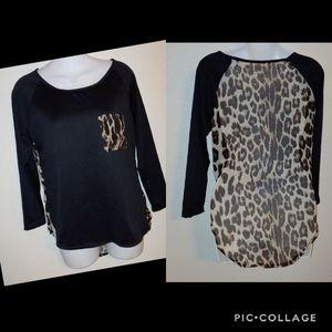 Animal print sheer back high low blouse